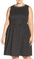 London Times Plus Size Women's Embellished Stretch Fit & Flare Dress