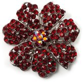 Avalaya Hot Red Crystal Corsage Flower Brooch (Silver Tone)