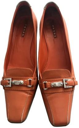 Prada Orange Leather Flats