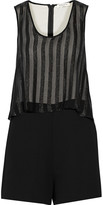 Sandro Crinkled-chiffon and cady playsuit