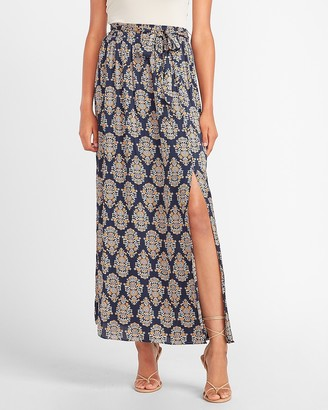 Express High Waisted Paisley Tie Front Slit Maxi Skirt