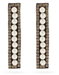 Erdem Faux-pearl & Crystal-embellished Drop Earrings - Pearl