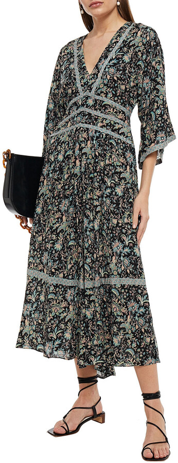 Thumbnail for your product : BA&SH Tie-back Gathered Floral-print Woven Midi Dress