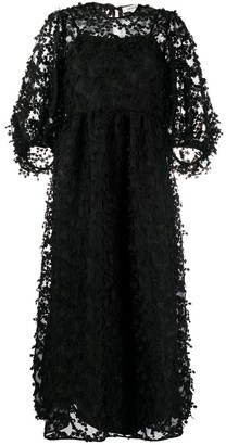 Cecilie Bahnsen Floral-Embroidered Silk Dress