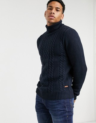 Jack and Jones cable knit sweater with roll neck in navy