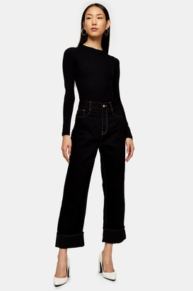 Topshop Womens **Black Straight Jeans By Black