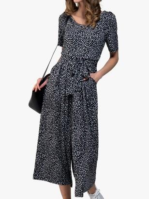 Jolie Moi Wide Leg Jumpsuit, Black Abstract