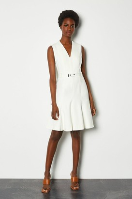 Karen Millen Sleeveless Belted Flippy Hem Dress