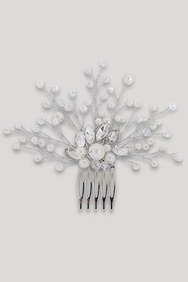 Sass & Belle Silver Pearl And Diamante Hair Slide