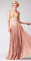Mignon Gold-Accented V-Neck Pleated Long Evening Dresses
