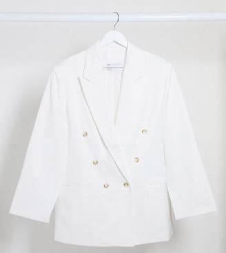 ASOS DESIGN Curve split sleeve suit blazer in texture