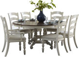 Asstd National Brand Tucker Hill Wheat Ladder-Back Whitewash Pine Round Dining Set