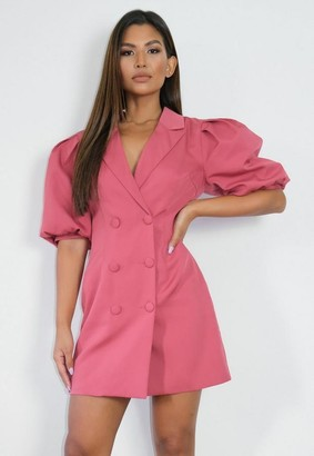 Missguided Rust Puff Sleeve Blazer Dress