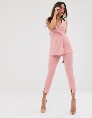 Asos Design DESIGN split front slim suit trousers-Pink