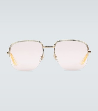 Gucci Square frame metal glasses