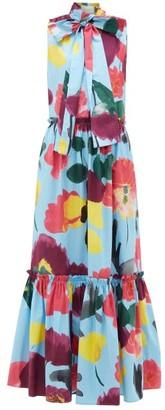 La DoubleJ Lou Lou Floral-print Pussy-bow Cotton Dress - Womens - Blue Print