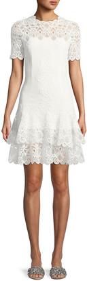 Jonathan Simkhai Lace Applique Mini Tee Dress