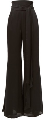 Galvan Belted High-rise Textured-satin Wide-leg Trousers - Black