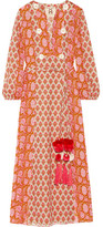 Figue Ravenna Embellished Printed Cotton Midi Dress - Pink