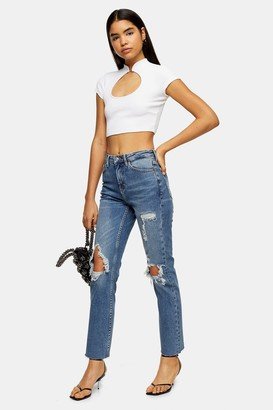 Topshop Womens Mid Blue Destroy Rip Straight Jeans - Mid Stone