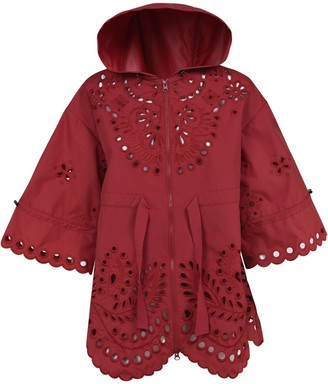 RED Valentino Flared Cuffs Perforated Raincoat
