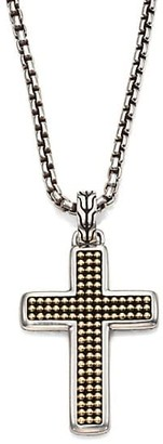 John Hardy Classic Chain Sterling Silver & 18K Yellow Gold Cross Necklace