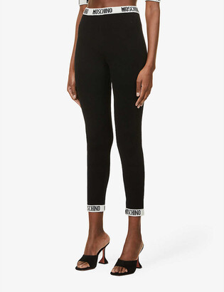 Moschino Logo-trim tapered high-rise wool and cashmere-blend leggings
