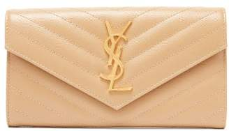 Saint Laurent Monogram Quilted-leather Wallet - Womens - Beige