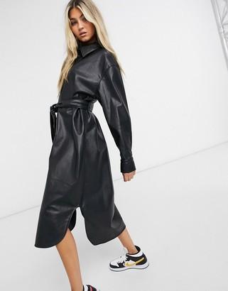 Weekday Gigi shirt dress in black