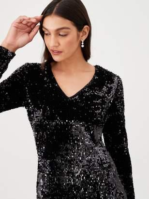 Very Plunge Sequin V Maxi Dress - Black
