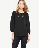Ann Taylor Embroidered Lace V-Neck Blouse