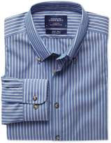 Charles Tyrwhitt Extra Slim Fit Non-Iron Poplin Blue and White Stripe Cotton Casual Shirt Single Cuff Size Large