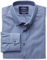 Charles Tyrwhitt Extra Slim Fit Non-Iron Poplin Blue and White Stripe Cotton Dress Shirt Size XS