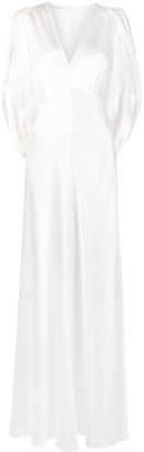 Alberta Ferretti Long-Sleeved Silk Maxi Dress