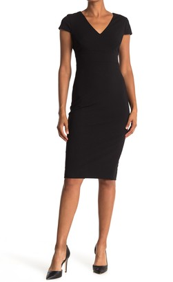 Donna Morgan Cap Sleeve Fitted Crepe Dress
