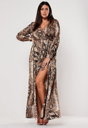 Missguided Plus Size Brown Snake Print Plunge Maxi Dress