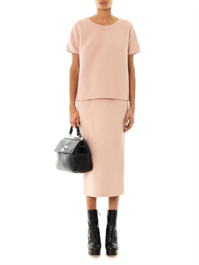 Rochas Double-faced wool pencil skirt