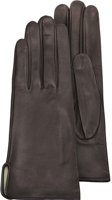 Forzieri Women's Brown Calf Leather Gloves w/ Silk Lining