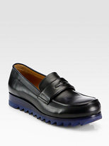 Jil Sander Leather Wedge Loafers