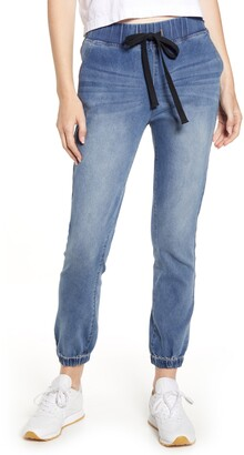Tinsel Tie Front Denim Jogger Pants