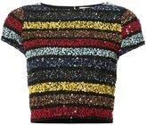 Alice + Olivia Alice+Olivia - sequined cropped T-shirt - women - Nylon/Spandex/Elastane - 2