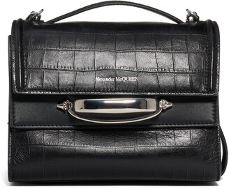 Alexander McQueen The Story Croc Embossed Calfskin Leather Bag