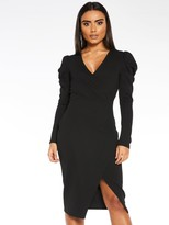 Quiz Scuba Crepe Wrap Front Skirt Puff Sleeve Dress - Black