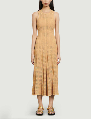 Sandro Alena pointelle-detail knitted midi dress