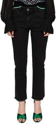 Maje Pacha Frayed-Hem Jeans