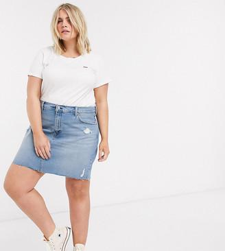 Levi's Plus deconstructed denim mini skirt in midwash blue