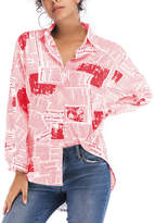 Maison Mascallier Women's Button Down Shirts Red - Red & White News-Print Hi-Low Hem Button-Up - Women & Plus
