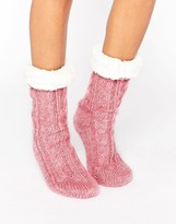 Asos Holidays Cable Faux Fur Lined Lounge Sock