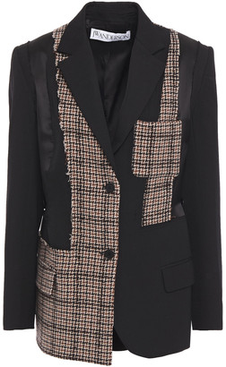 J.W.Anderson Patchwork Houndstooth Woven And Wool-twill Blazer