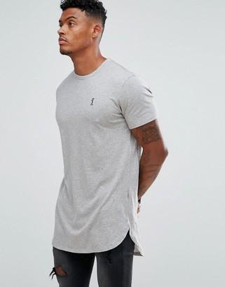 Religion longline logo t-shirt in grey marl